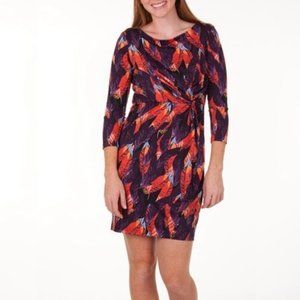 Dresses & Skirts - Fall Feather Print 3/4 Sleeve Gathered Dress M
